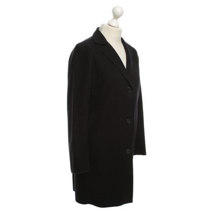 Jil Sander cappotto di lana in blu scuro