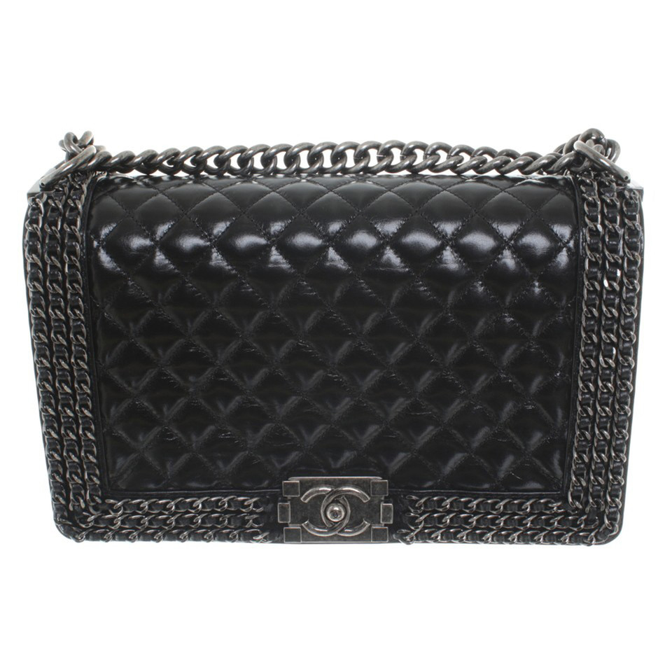 chanel boy bag in black buy second hand chanel boy bag in black for 4. Black Bedroom Furniture Sets. Home Design Ideas