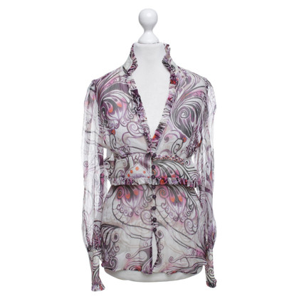 Escada Colorful silk blouse with frills