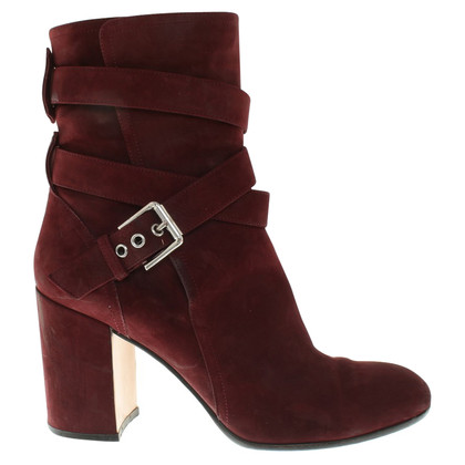 Gianvito Rossi Suede enkellaars in Bordeaux