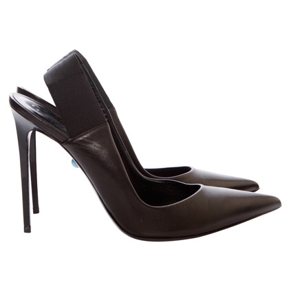 Philippe Model black leather slingback pumps