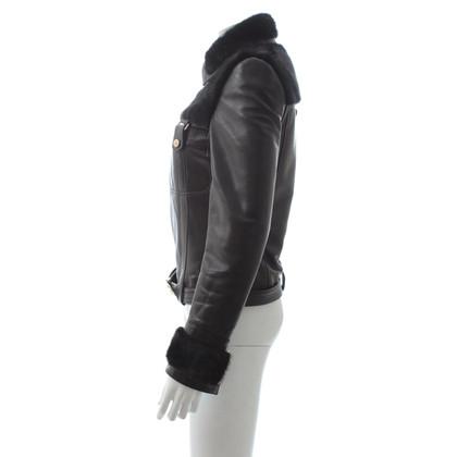 Gucci Lederen jas met nertsbont