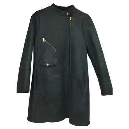 Closed Green lamb fur coat