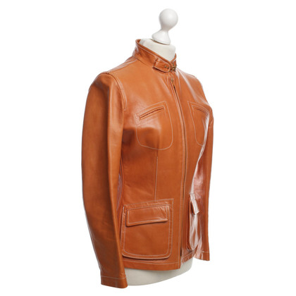 Fay Leather Jacket in Orange