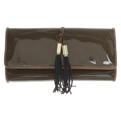 22861a46fd8 Versace Clutch Bag Patent leather in Taupe - Second Hand Versace ...