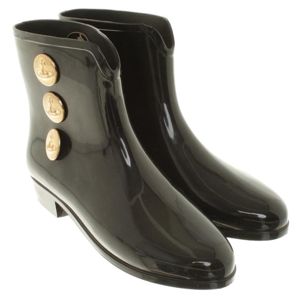 Rubberen Schoudertassen : Vivienne westwood rubberen laarzen in zwart koop