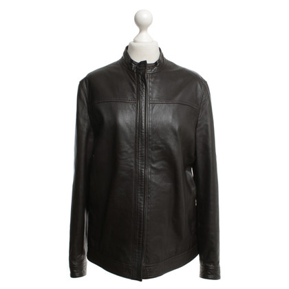Hugo Boss Leather jacket in dark brown