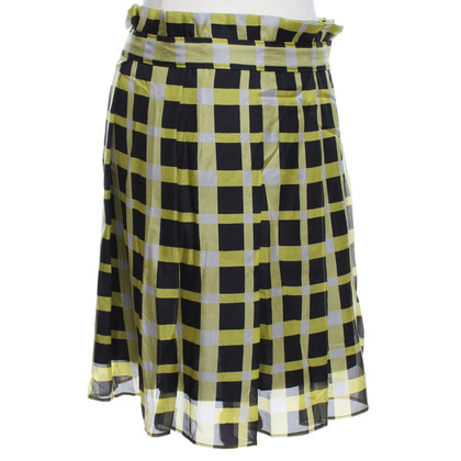 Pollini Silk skirt with check pattern