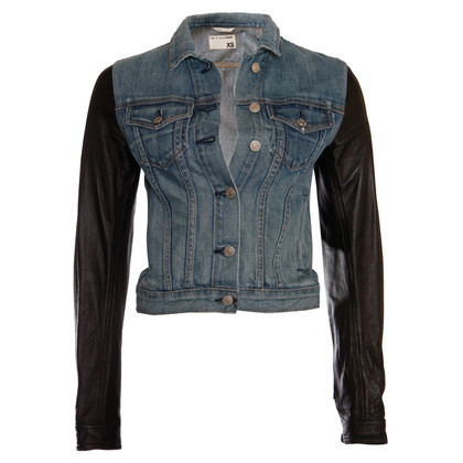 Rag & Bone  giacca in denim con maniche in pelle