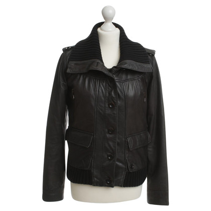 Closed Lederjacke in Schwarz