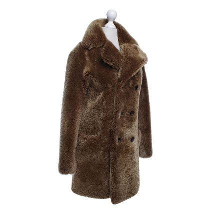 Saint Laurent Shearling cappotto in marrone