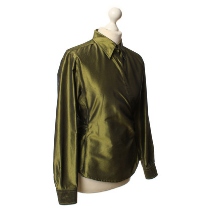 Max Mara Wrap blouse in olive green