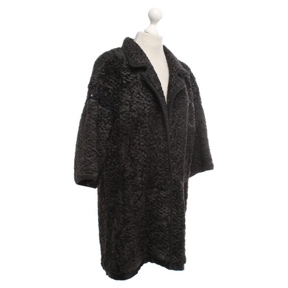 Other Designer Hockley - knitted coat with fur trim