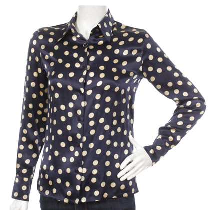 Equipment Navy Polka Dot Silk Shirt