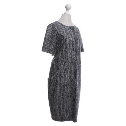 Jil Sander Kleid in Schwarz/Wollweiß
