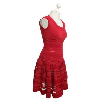 Alaïa abito di pizzo in rosso