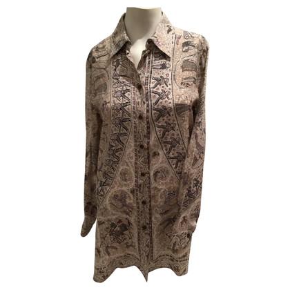 Hermès Zijden blouse in tinten van aarde