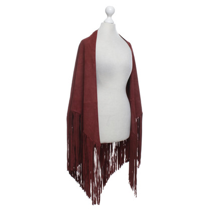 Set Wild leather poncho in Bordeaux