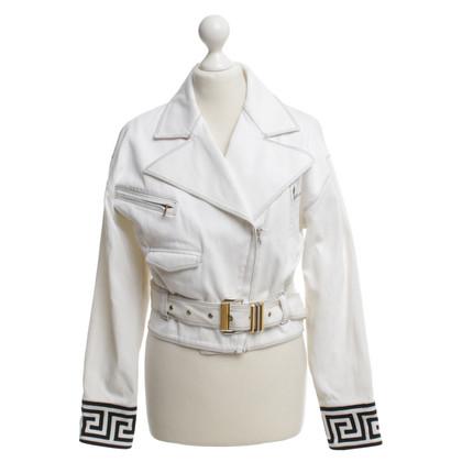 Versace biker jacket in bianco