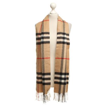 Burberry cashmere sciarpa scozzese in beige