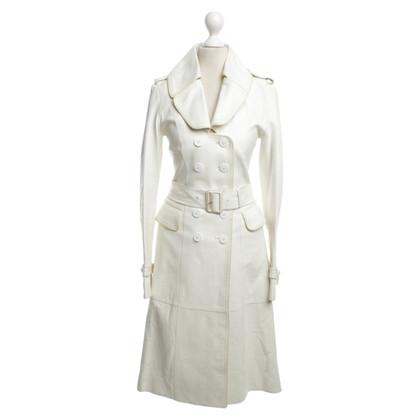 Burberry cappotto di pelle in crema bianco