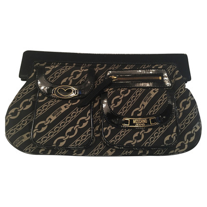 Moschino Jacquard / patent leather handbag