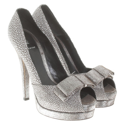 Fendi Silver peeptoes