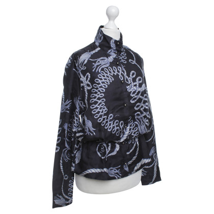 McQ Alexander McQueen Blue silk blouse with print motif