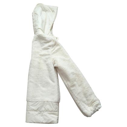 Blumarine giacca hoddie in finta pelliccia bianca con tag