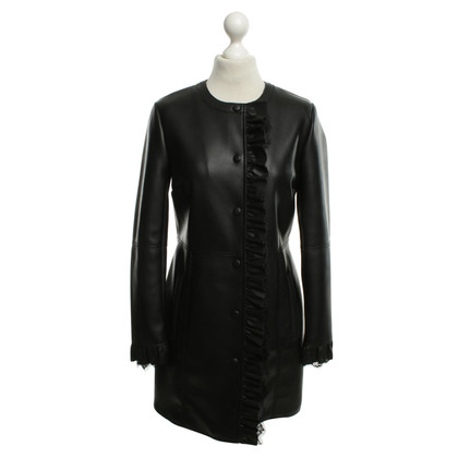 Twin-Set Simona Barbieri cappotto nero in similpelle