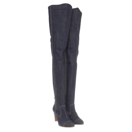 Chanel Overknee-Stiefel aus Denim
