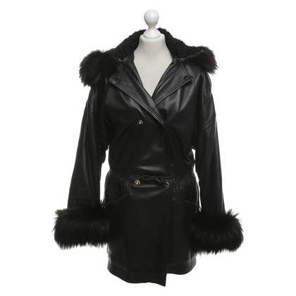 Gianni Versace Leather coat with fur trim