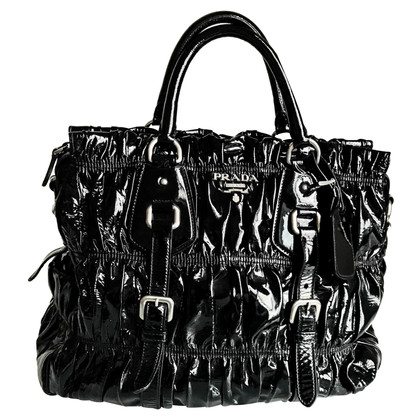 Prada Large Black Patent Leather Bag