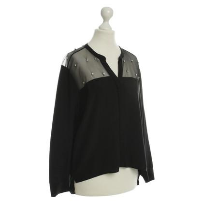 Sandro Silk blouse with Strasssteinapplikation