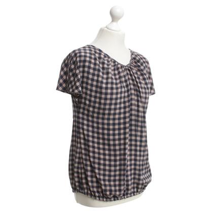 Hemisphere blouse d'écoulement avec motif à carreaux