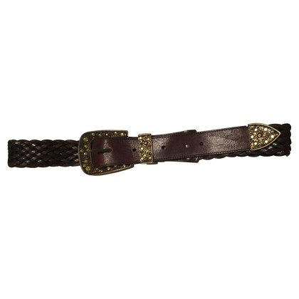 Schumacher Leather belt with rhinestone clasp