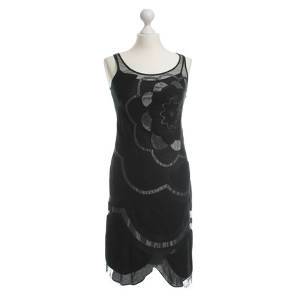 Moschino Cheap and Chic Black net evening dress with flowers