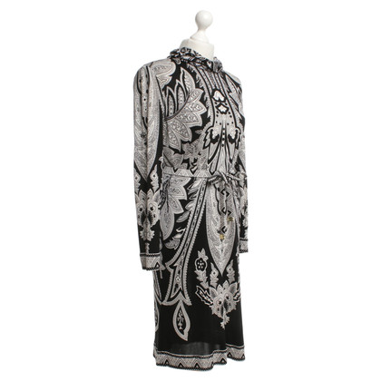 Leonard Silk dress in black / white