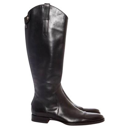 Santoni stivali di pelle nera