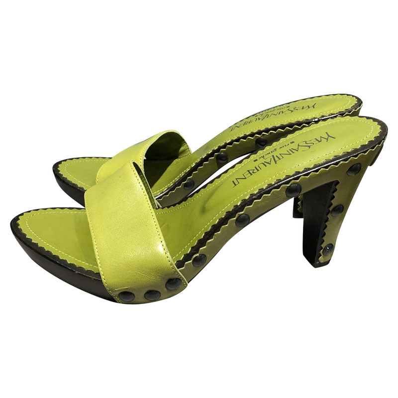 Saint Laurent Sandals Leather in Green