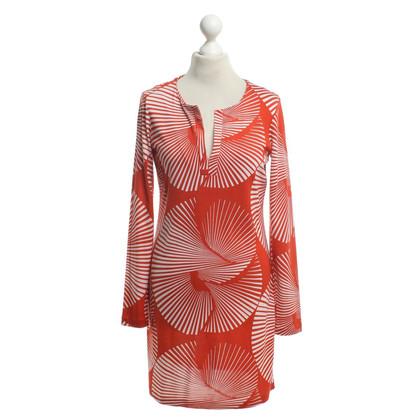 Diane von Furstenberg Seidenkleid in Rot/Weiß