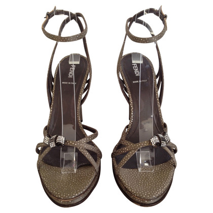 Fendi Bronzen strassed hoge sandalen