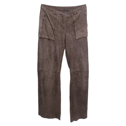 Marc Cain Wild leather trousers in taupe