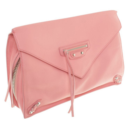 Balenciaga Lederclutch in Rosa