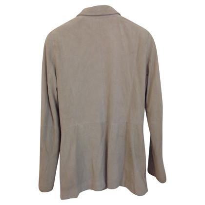 Max Mara giacca di pelle scamosciata beige
