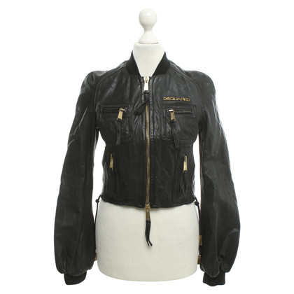 Dsquared2 Lederjacke in Schwarz