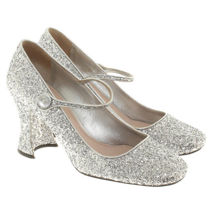 Miu Miu Mary Janes in argento