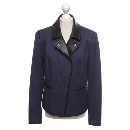 Reiss Short jacket with leather trim