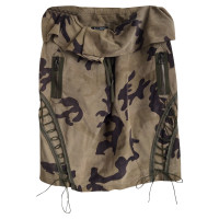 Balmain Leather skirt with camouflage
