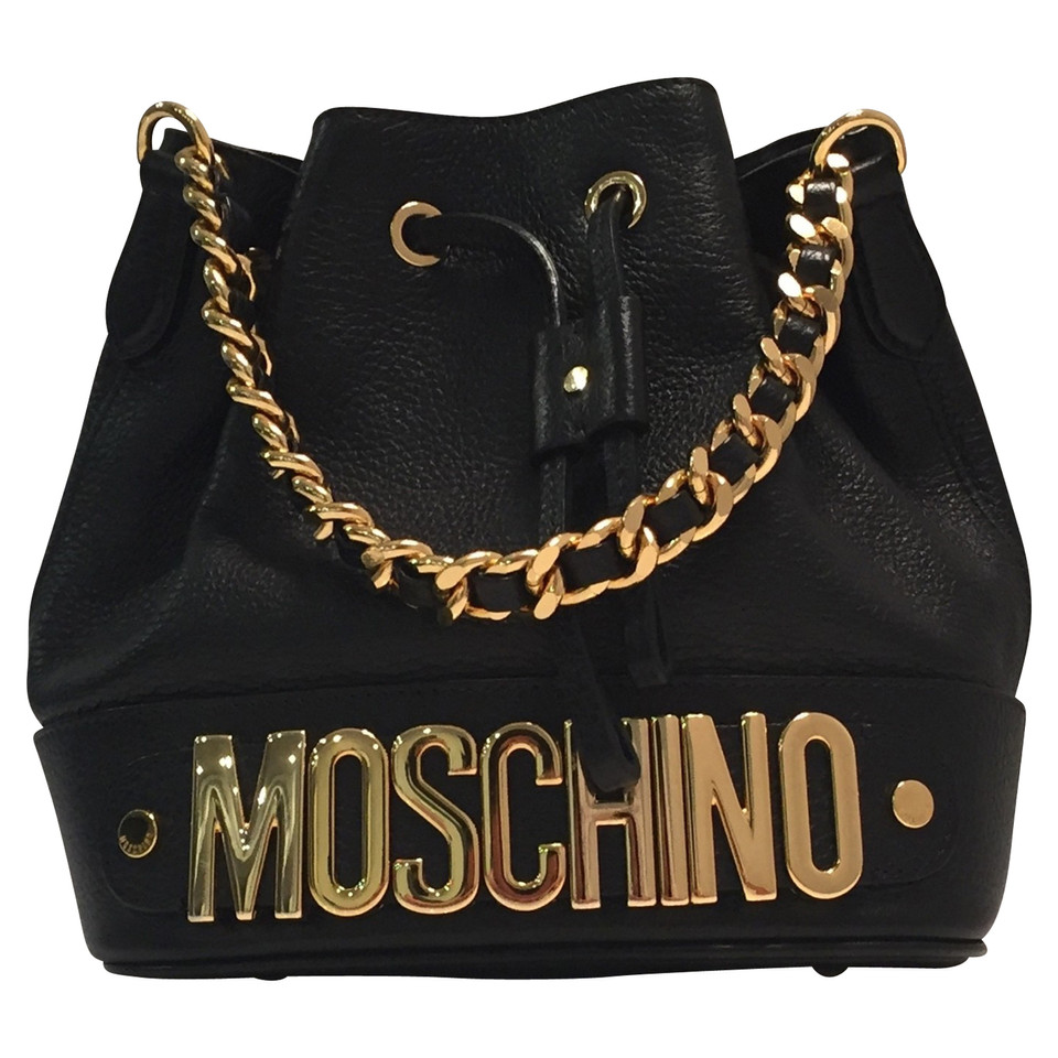 moschino beuteltasche in schwarz second hand moschino beuteltasche in schwarz gebraucht kaufen. Black Bedroom Furniture Sets. Home Design Ideas